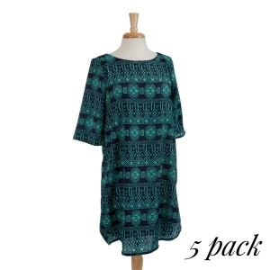 Navy blue dress with a mint green tribal print and scoop bottom. Fully lined. 100% polyester. Sold in packs of five - two smalls, two mediums and one large.