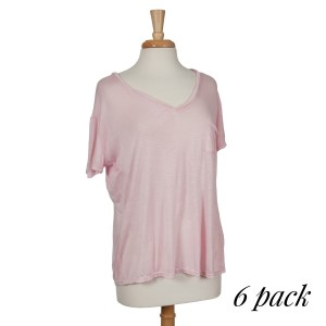 Lightweight light pink top with short sleeves, a pocket on the left chest and a V-neckline. 100% rayon. Sold in packs of six - two smalls, two mediums, and two larges.