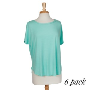 Mint green short sleeve top with a relaxed fit and a scoop bottom. 95% rayon and 5% spandex. Sold in packs of six - two smalls, two mediums, two larges.