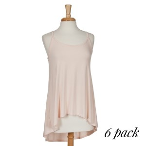Blush spaghetti strap tank top with a relaxed fit and a high-low hem line. 65% rayon modal and 5% spandex. Sold in packs of six - two smalls, two mediums, two larges.