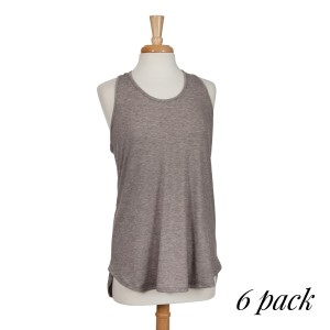 Heather gray racerback tank top. 87% polyester, 10% rayon, and 3% spandex. Sold in packs of six - two smalls, two mediums, and two larges.