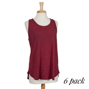 Crimson racerback tank top. 87% polyester, 10% rayon, and 3% spandex. Sold in packs of six - two smalls, two mediums, and two larges.
