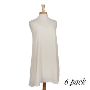 Ivory racerback dress with spaghetti straps. Fully lined. 100% polyester. Sold in packs of six - two smalls, two mediums, and two larges.