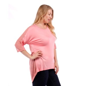 Pink top with 3/4 length sleeves and a knit back. 95% rayon and 5% spandex. Sold in packs of six - two 1X, two 2X, two 3X.