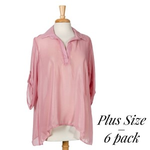 Mauve, semi-sheer v-neck top with 3/4 length sleeves and a relaxed fit. 100% polyester. Sold in packs of six - two 1X, two 2X, and two 3X.