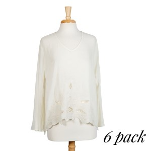 Ivory long sleeve top with floral embroidery and cut outs. Relaxed fit. 100% rayon. Sold in packs of six - two smalls, two mediums, two larges.