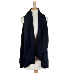Navy blue vest can be worn short or long. One size fits most.
