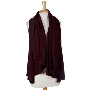 Plum vest can be worn short or long. One size fits most.