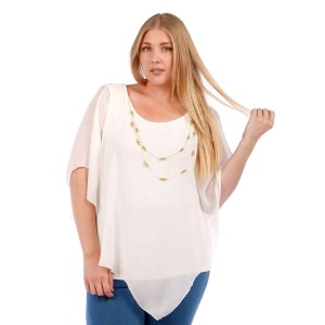 Ivory short sleeve, plus size top with a sheer flowy overlay. Includes detachable necklace. 95% rayon and 5% spandex, overlay is 100% polyester. Sold in packs of six - two 1X, two 2X, two 3X.