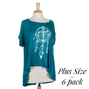 Teal short sleeve, plus size top with a dreamcatcher print. 95% rayon and 5% spandex.  Sold in packs of six - two 1X, two 2X, and two 3X.