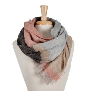Taupe, blue and mauve color block open scarf with frayed edges. 100% acrylic.