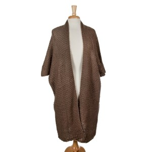 Taupe knit duster with short sleeves and a loose fit. 100% acrylic. One size fits most.