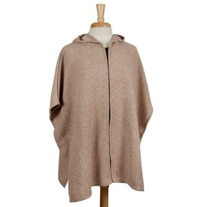 Beige full zip, hooded poncho with short sleeves. 53% polyester, 23% acrylic, 15% cotton, 7.5% wool, 1.5% spandex. One size fits most.