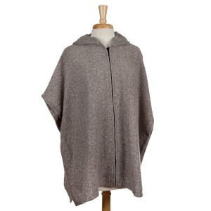 Gray full zip, hooded poncho with short sleeves. 53% polyester, 23% acrylic, 15% cotton, 7.5% wool, 1.5% spandex. One size fits most.