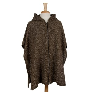 Olive full zip, hooded poncho with short sleeves. 53% polyester, 23% acrylic, 15% cotton, 7.5% wool, 1.5% spandex. One size fits most.