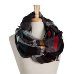 Black, gray, and green plaid infinity scarf. 100% acrylic.