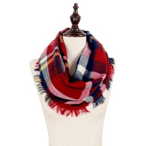 Navy, red and white plaid infinity scarf. 100% acrylic.