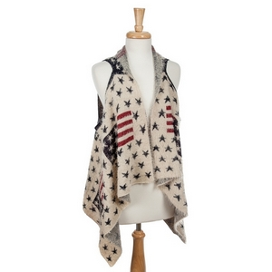 Ivory vest with eyelash fabric and an American flag pattern. 100% acrylic. One size fits most.