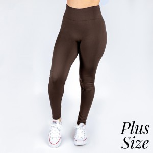 Plus size brown leggings. This style is full length and in a summer weight. Offered in everyday essential colors to coordinate with long tops or skirts. Made of a 92% polyester and 8% Spandex mix.