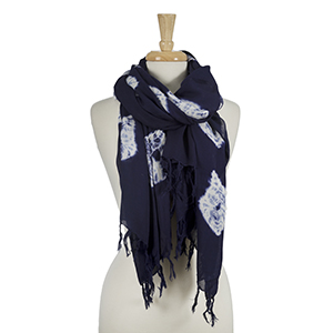"Navy blue and white open scarf with a  tie-dye print. 100% viscose. Approximately 42"" x 72."""