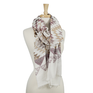 """Ivory scarf with a maroon and beige Aztec print. 100% viscose. Measures approximately 26"""" x 88."""""""