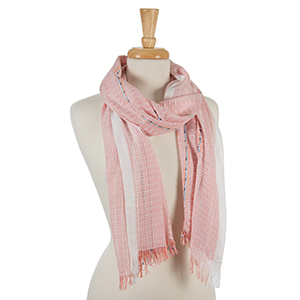 "Beige and pink scarf with blue accents and frayed edges. 100% viscose. Measures approximately 20"" x 72."""