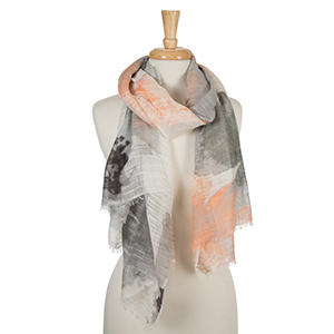 "Peach, coral, and gray floral print scarf with frayed edges. 100% cotton. Measures approximately 36"" x 72."""