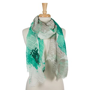 "Mint, teal, and gray floral print scarf with frayed edges. 100% cotton. Measures approximately 36"" x 72."""