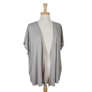 Gray short sleeve open overlay. 65% viscose and 35% polyester. One size fits most.
