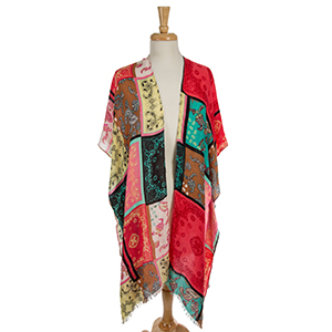 Coral short sleeve kimono with a multicolored paisley print. 100% polyester. One size fits most.