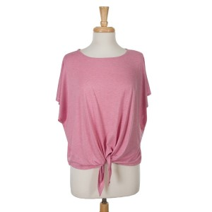 Pink short sleeve top with a tie front. 65% viscose and 35% polyester. One size fits most.