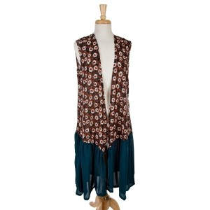 Teal sleeveless, duster length vest with a rust floral pattern on the bottom. 100% polyester. one size fits most.