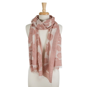 "White open scarf featuring a red damask print and frayed edges. 40% cotton and 60% polyester. Approximately 28"" x 78"" in size."