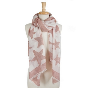 "White open scarf featuring red stars and frayed edges. 40% cotton and 60% polyester. Approximately 28"" x 78"" in size."