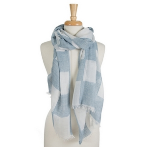 "White open scarf featuring a navy blue gingham print and frayed edges. 40% cotton and 60% polyester. Approximately 28"" x 78"" in size."