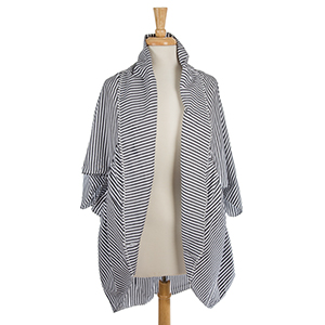 Charcoal gray and white striped, short sleeve kimono. 100% polyester. One size fits most.