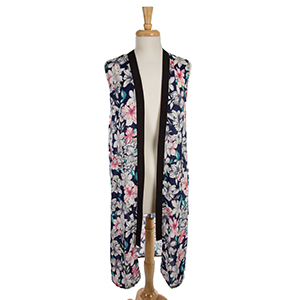 Navy blue vest with a pink floral pattern and black trim around the neckline and down the front. 100% polyester. One size.