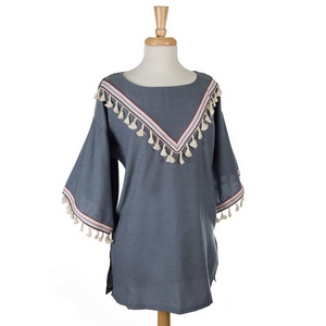 Denim colored tunic with ivory tassels, pink stitching, and 3/4 length sleeves. 100% cotton. One size, fits up to a true medium.