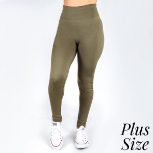 New Kathy / New Mix plus size olive, summer-weight leggings are seamless, chic, and a must-have for every wardrobe. These lightweight, full-length leggings are versatile, perfect for layering, and available in many shades. Smooth fabric, 92% Nylon 8% Spandex. One size, fits US women's 16-20.