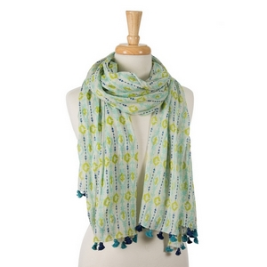 "Turquoise, navy blue and lime green printed, open scarf with pom poms on the ends. 100% cotton. Measures approximately 28"" x 72"" in size."