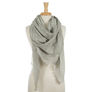 "Lightweight gray square scarf featuring frayed edges. 100% viscose. Measures approximately 54"" x 54"" in size."