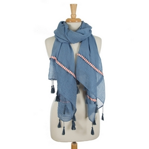 "Blue open scarf featuring embroidered details on the ends and tassels on the edges. 35% viscose and 65% polyester. Measures approximately 72"" x 32"" in size."