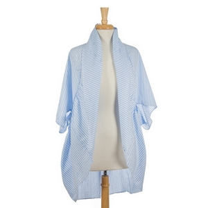 Light blue and white striped, short sleeve kimono. 100% polyester. One size fits most.