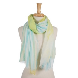 "Yellow, light blue and white open scarf with a striped pattern. 70% polyester and 30% cotton. Measures approximately 36"" x 68"" in size."
