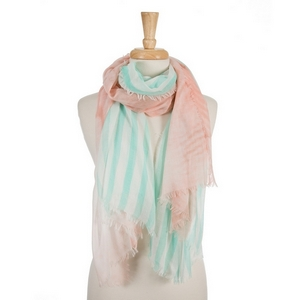 "Coral, mint green and white open scarf with a striped pattern. 70% polyester and 30% cotton. Measures approximately 36"" x 68"" in size."