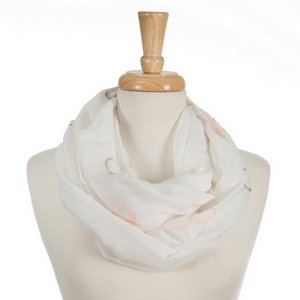 "White infinity scarf featuring coral and gray embroidered circles. 70% polyester and 30% cotton. Measures approximately 18"" x 32"" in size."