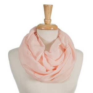 "Pink infinity scarf featuring ivory and pink embroidered circles. 70% polyester and 30% cotton. Measures approximately 18"" x 32"" in size."