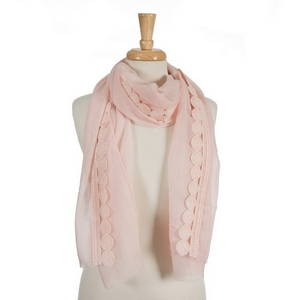 "Pale pink open scarf with a circle crocheted trim along the outer edge. 70% polyester and 30% cotton. Measures approximately 29"" x 72"" in size."