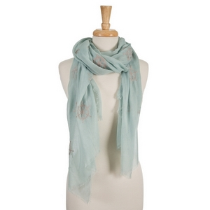 "Mint green open scarf featuring gray embroidered anchors and ship's wheels. 70% polyester and 30% cotton. Measures approximately 32"" x 68"" in size."