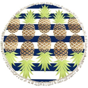 "Blue and white striped roundie with a pineapple print. This roundie can be used on the beach, as wall decor, or a rug. Approximately 66"" in diameter. 100% viscose."